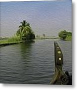 Captain Of The Houseboat Surveying Canal Metal Print