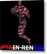Captain Renegade Super Hero Jumping Karate Kick Metal Print