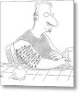 Captionless: Long Tattoo On Arm Of Man Drinking Metal Print