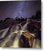 Capturing A Starry Night Waterfall In Metal Print