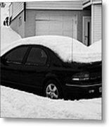 Car Buried In Snow Outside House In Honningsvag Norway Europe Metal Print