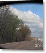 Car Mirror Landscape With Road And Sky. Metal Print
