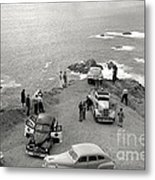 Car Over Edge On Highway One  Big Sur  California    March 27 1947 Metal Print