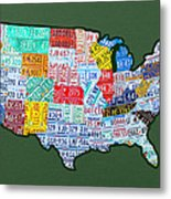 Car Tag Number Plate Art Usa On Green Metal Print
