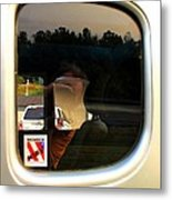 Car Window Reflection Metal Print