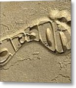 Carbon Footprint In The Sand Metal Print