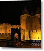 Carcassonne At Night Metal Print by France  Art