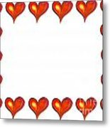 Card Frame Made Of Watercolor Hearts Metal Print
