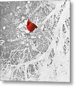 Cardinal In Winter Metal Print by Ellen Henneke