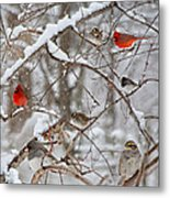 Cardinal Meeting In The Snow Metal Print