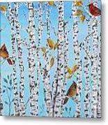 Cardinals Among The Birch-jp2061 Metal Print