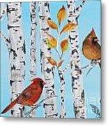 Cardinals Among The Birch-d Metal Print
