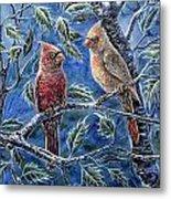 Cardinals And Holly Metal Print