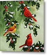 Cardinals And Holly - Version With Snow Metal Print by Crista Forest