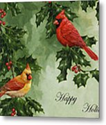 Cardinals Holiday Card - Version Without Snow Metal Print