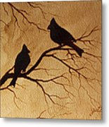 Cardinals Silhouettes Coffee Painting Metal Print