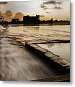 Carew Castle And Lake Metal Print
