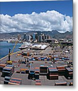 Cargo Containers At A Harbor, Honolulu Metal Print