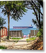 Cargo Ship On Chesapeake Bay Metal Print