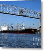 Cargo Ship Under Bridge Metal Print