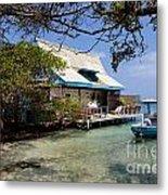 Caribbean House And Boat Metal Print