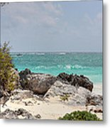 Caribbean Sea And Beach At Tulum Metal Print