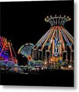 Carnival Rides At Night 04 Metal Print