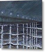 Carolina Beach Pier By Night Metal Print