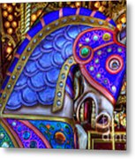 Carousel Beauty Blue Charger Metal Print