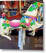 Carousel Horse With Flower Drape Metal Print