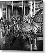 Carousel Horses In Black And White Metal Print