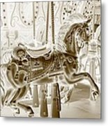 Carousel In Negative Sepia Metal Print
