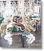 Carousel Merry Go Round Horses - Dreamy Baby Blue Carousel Horses Carnival Ride And American Flag Metal Print
