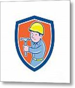 Carpenter Builder Hammer Shield Cartoon Metal Print
