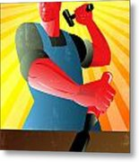 Carpenter Striking Hammer Chisel Poster Retro Metal Print