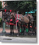 Carriage Horses At City Market Metal Print by Linda Ryan