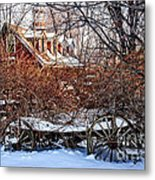 Carriage House In Snow Metal Print