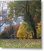 Carriage Ride Central Park In Autumn Metal Print