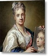 Carriera Rosalba, Self-portrait, 1715 Metal Print