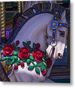 Carrsoul Horse With Roses Metal Print