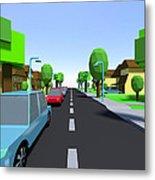 Cars Driving Suburban Streets   Metal Print