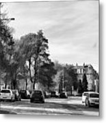 Cars On A Street In Edinburgh Metal Print