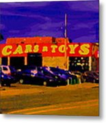 Cars R Toys Evening Rue St.jacques Used Cars Trucks Suvs Montreal Urban Scene Carole Spandau Metal Print