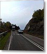 Cartoon - Car And Truck Crossing A Road Repair Section Of Highway In Scotland Metal Print