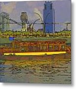 Cartoon - Colorful River Cruise Boat In Singapore Next To A Bridge Metal Print