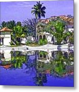 Cartoon - Cottages And Lagoon Water Metal Print