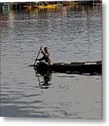 Cartoon - Kashmiri Man Rowing A Small Wooden Boat In The Waters Of The Dal Lake Metal Print