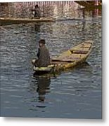 Cartoon - Kashmiri Men Rowing Many Small Wooden Boats In The Waters Of The Dal Lake Metal Print