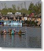 Cartoon - Ladies On 2 Wooden Boats On The Dal Lake With The Background Of Houseboats Metal Print