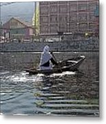 Cartoon - Light Following This Lady On A Wooden Boat On The Dal Lake In Srinagar Metal Print